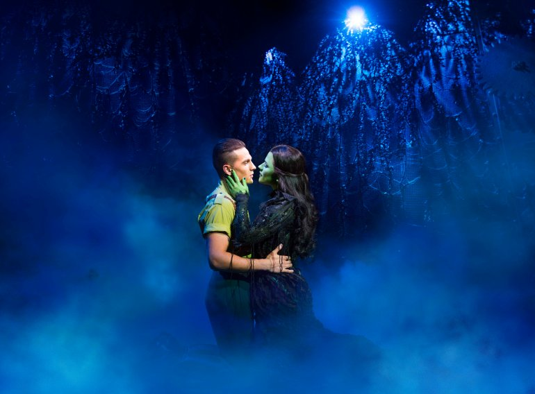 Aaron Sidwell as Fiyero and Amy Ross as Elphaba in WICKED UK & Ireland Tour. Photo Credit Matt Crockett