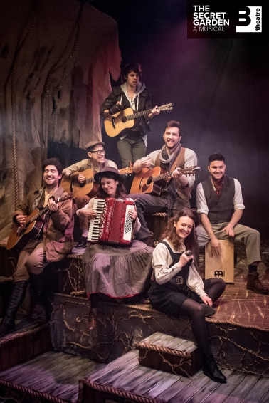 Dickon's band, playing 'Winter's On The Wing'. From top - Alex James Ellison (Dickon), Celeste De Veazey (primary role Colin Craven), ensemble members Jamie Ross, Steffan Rizzi, Celia Cr