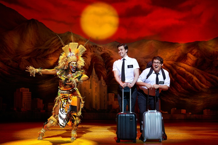11 M-Jae Cleopatra Isaac Kevin Clay Conner Peirson in The Book of Mormon Credit Paul Coltas